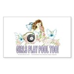 Girls Play Pool Too 8 Ba Sticker (Rectangle 50 pk)