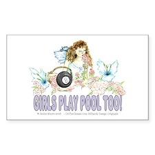 Girls Play Pool Too 8 Ba Sticker (Rectangle 10 pk)