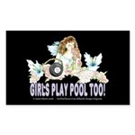 Girls Play Pool Too 8 Ball Sticker (Rectangle)