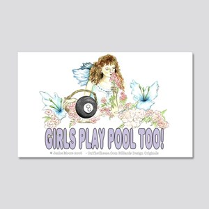 Girls Play Pool Too 8 Ball 20x12 Wall Decal