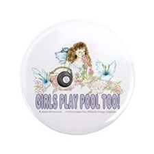 Girls Play Pool Too 8 Ball Button