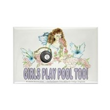 Girls Play Pool Too 8 Ball Rectangle Magnet