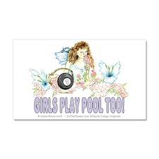 Girls Play Pool Too 8 Ball Car Magnet 20 x 12