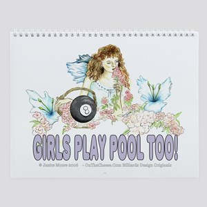 Girls Play Pool Too 8 Ball Wall Calendar