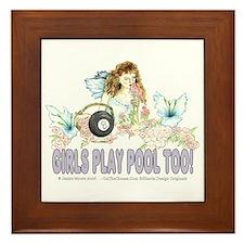 Girls Play Pool Too 8 Ball Framed Tile