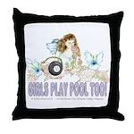 Girls Play Pool Too 8 Ball Throw Pillow