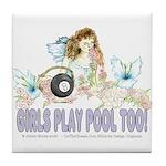 Girls Play Pool Too 8 Ball Tile Coaster