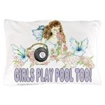 Girls Play Pool Too 8 Ball Pillow Case