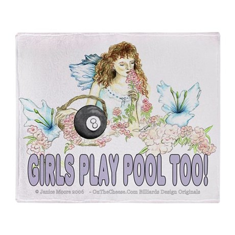Girls Play Pool Too 8 Ball Woven Blanket by OTC Billiards Designs
