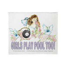 Girls Play Pool Too 8 Ball Throw Blanket
