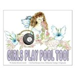 Girls Play Pool Too 8 Ball Small Poster
