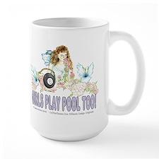 Girls Play Pool Too 8 Ball Large Mug