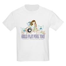 Girls Play Pool Too 8 Ball Kids Light T-Shirt