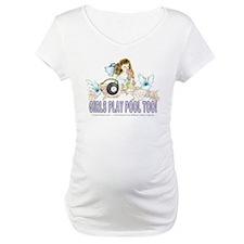 Girls Play Pool Too 8 Ball Maternity T-Shirt