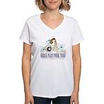 Girls Play Pool Too 8 Ball Women's V-Neck T-Shirt
