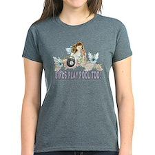 Girls Play Pool Too 8 Ball Women's Dark T-Shirt