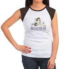 Girls Play Pool Too 8 Junior's Cap Sleeve T-Shirt