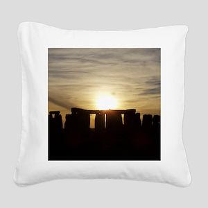 SUNSET AT STONEHENGE Square Canvas Pillow