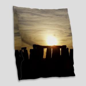 SUNSET AT STONEHENGE Burlap Throw Pillow