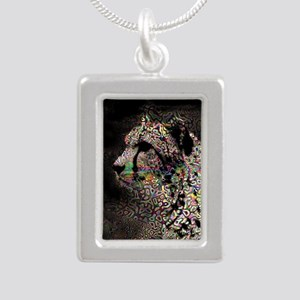 Abstract Animal Silver Portrait Necklace