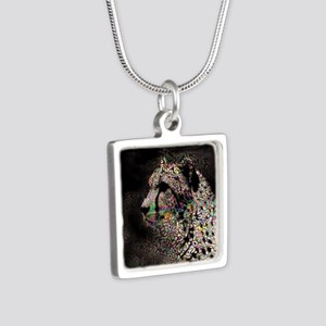 Abstract Animal Silver Square Necklace