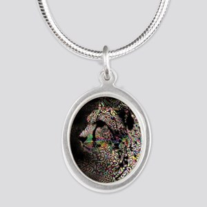 Abstract Animal Silver Oval Necklace