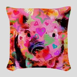 Sweet Piglet Graffiti Woven Throw Pillow