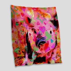 Sweet Piglet Graffiti Burlap Throw Pillow