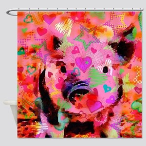 Sweet Piglet Graffiti Shower Curtain