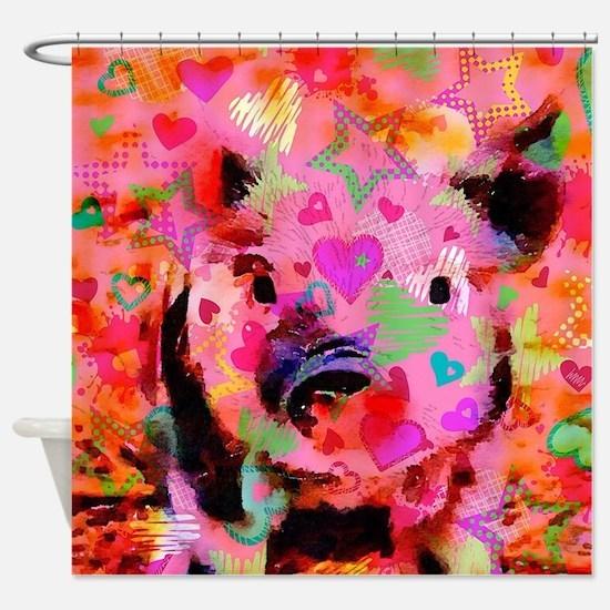 Sweet Piglet Graffiti Shower Curtain