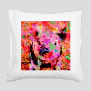 Sweet Piglet Graffiti Square Canvas Pillow