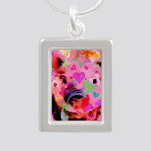 Sweet Piglet Graffiti Silver Portrait Necklace