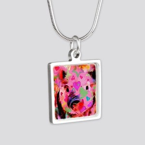 Sweet Piglet Graffiti Silver Square Necklace