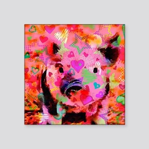 "Sweet Piglet Graffiti Square Sticker 3"" x 3"""