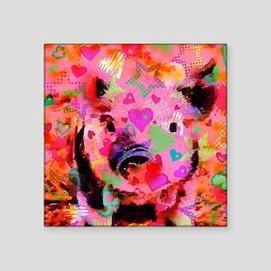 """Sweet Piglet Graffiti Square Sticker 3"""" x 3"""""""