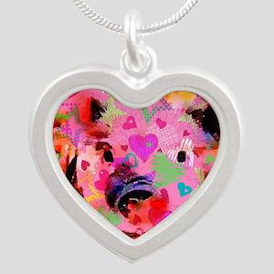 Sweet Piglet Graffiti Silver Heart Necklace