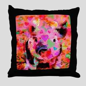 Sweet Piglet Graffiti Throw Pillow