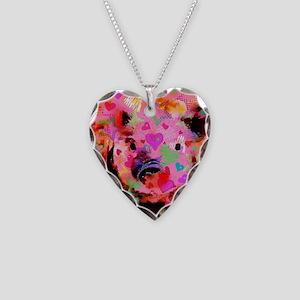 Sweet Piglet Graffiti Necklace Heart Charm
