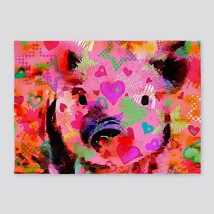Sweet Piglet Graffiti 5'x7'Area Rug