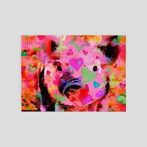 Sweet Piglet Graffiti 5'x7'Area Rug