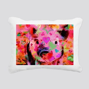 Sweet Piglet Graffiti Rectangular Canvas Pillow