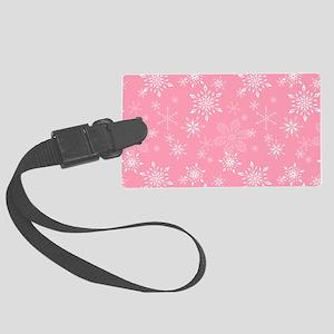 Snowflakes Pink Large Luggage Tag
