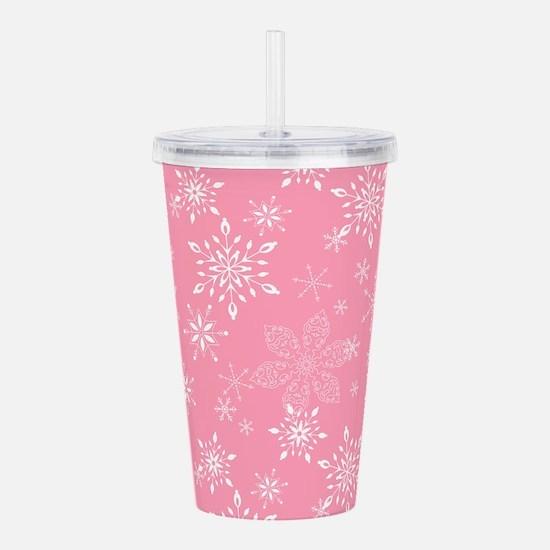 Snowflakes Pink Acrylic Double-wall Tumbler