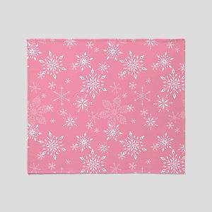 Snowflakes Pink Throw Blanket