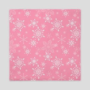 Snowflakes Pink Queen Duvet