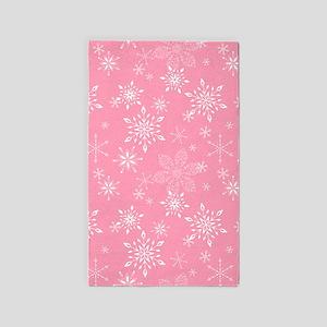 Snowflakes Pink Area Rug