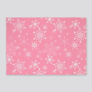 Snowflakes Pink 5'x7'Area Rug