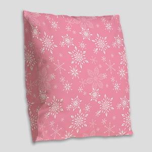 Snowflakes Pink Burlap Throw Pillow