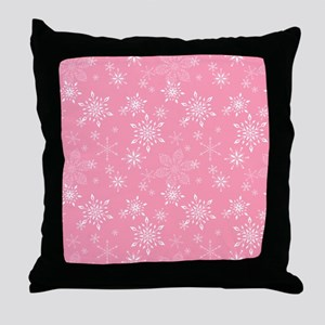 Snowflakes Pink Throw Pillow