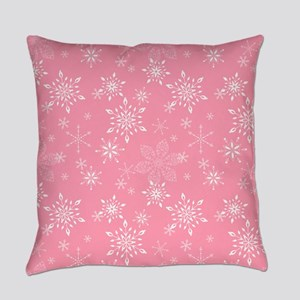 Snowflakes Pink Everyday Pillow